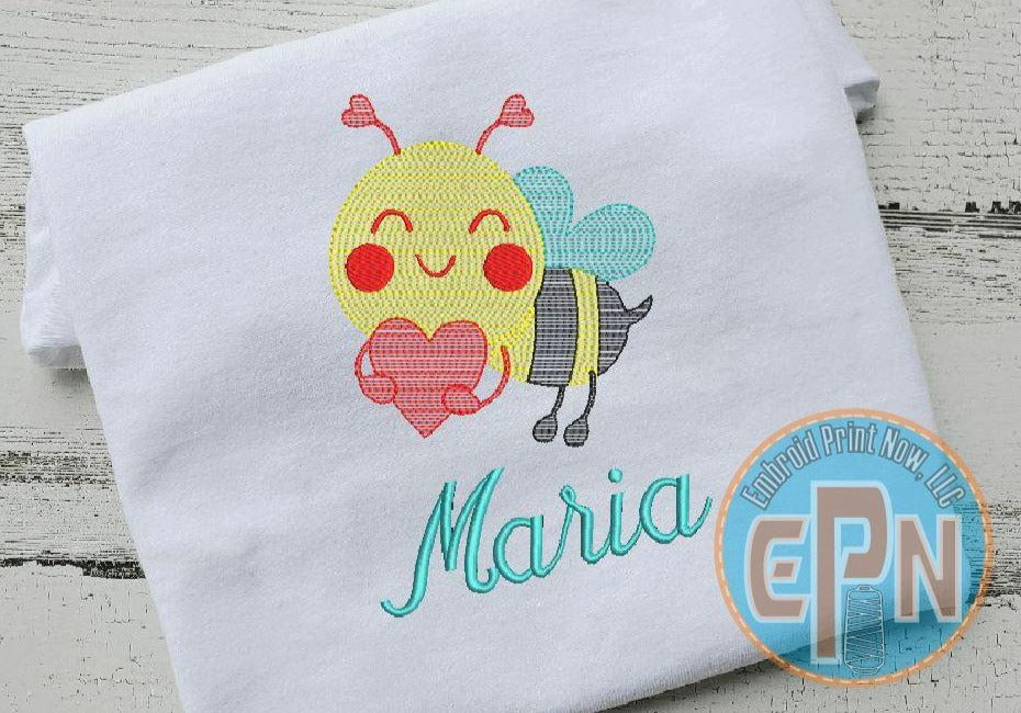 Bumble Bee Heart T-shirt With Name