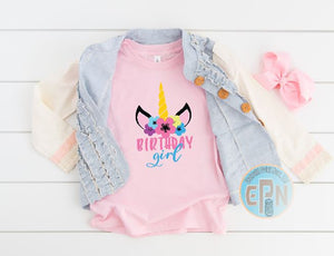 Unicorn  Birthday Girl Youth T-shirt
