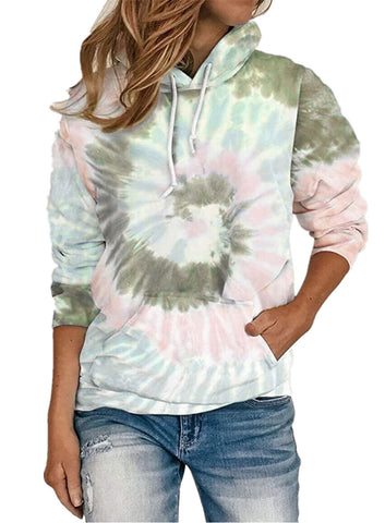 Free shipping Print Long Sleeve Crop Top Sweatshirt Sweaters coat Drawstring Pullover Tie Dye Hoodies