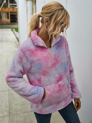 Free shipping Strict Quality Controls Winter Rainbow Tie Dye Teddy Coats and Jackets Tops Women