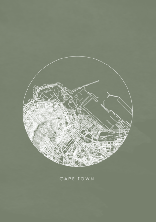 Cape Town Map / Teal