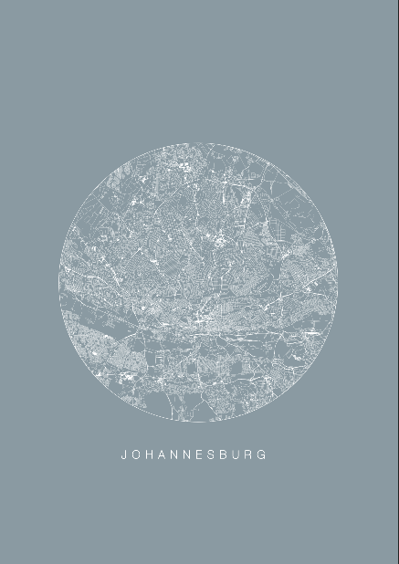 Johannesburg Map/ Blue