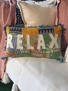 Kantha Decorative Pillow With Tassels