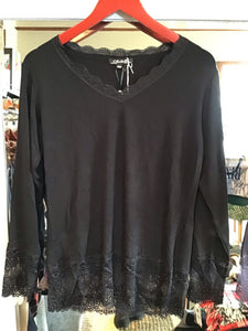 Lace Edged Long Sleeve Top