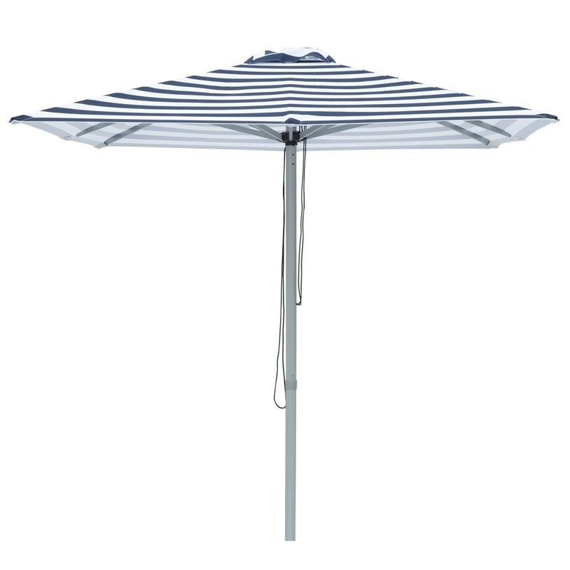 Santorini - 2m square navy and white umbrella with cover