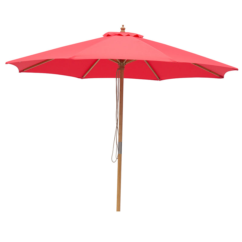 Red 3m diameter market umbrella with cover