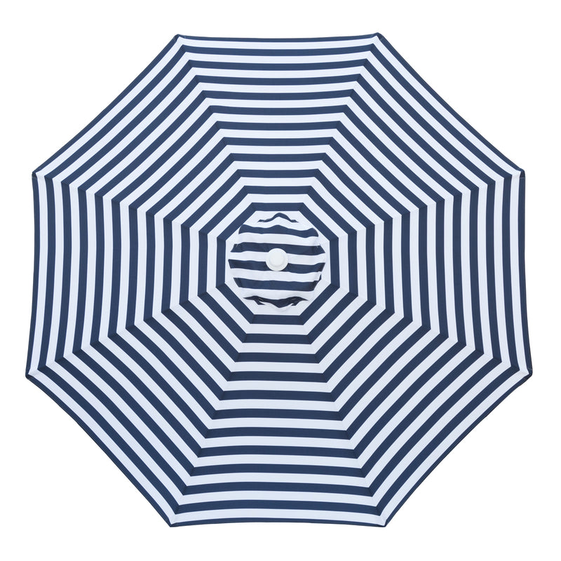Santorini - 3m diameter navy and white umbrella with cover