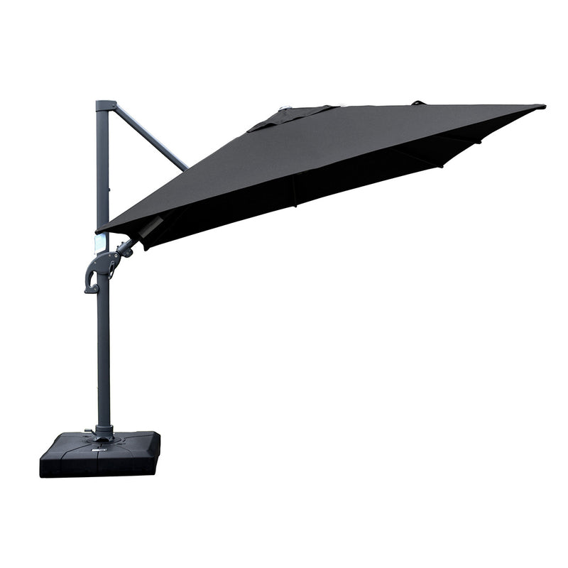 Amalfi 3m cantilever umbrella black inc. water base