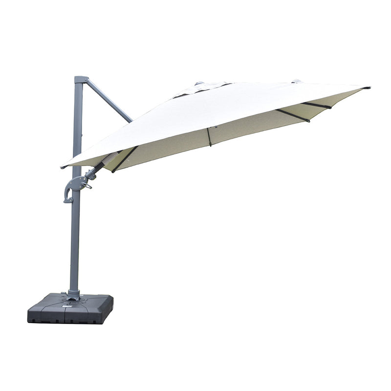 Amalfi 3m cantilever umbrella light grey inc. water base