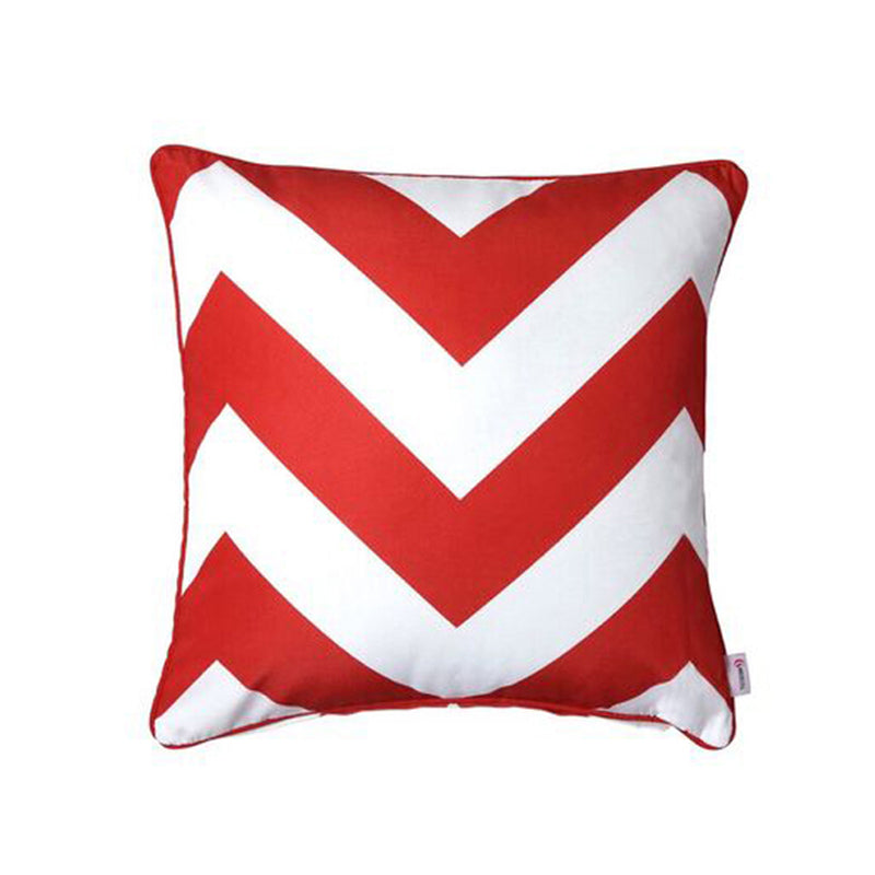Outdoor scatter cushion blood red and white large aztec square
