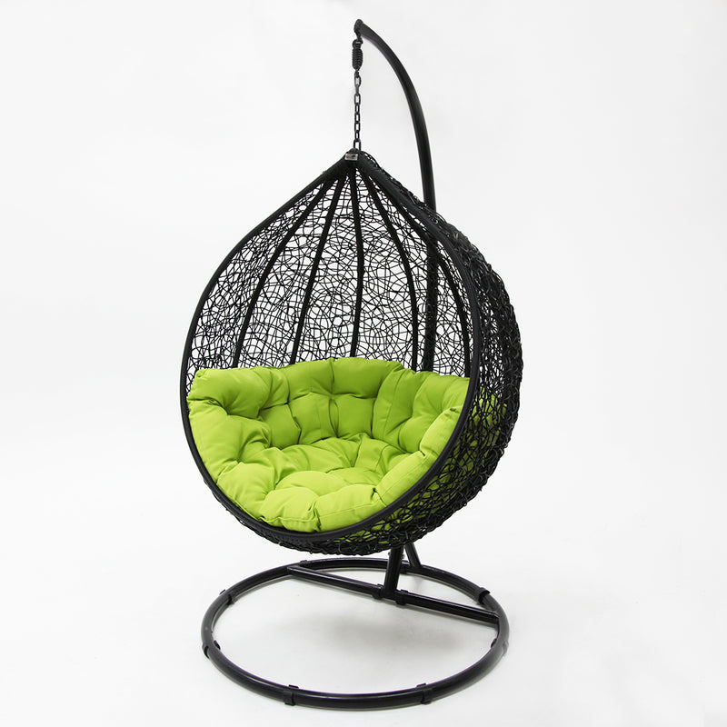 Kakadu premium pod chair black pod with green cushion