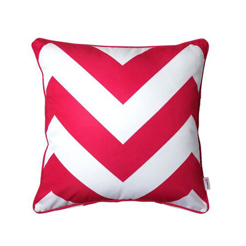 Outdoor scatter cushion pink and white large aztec square