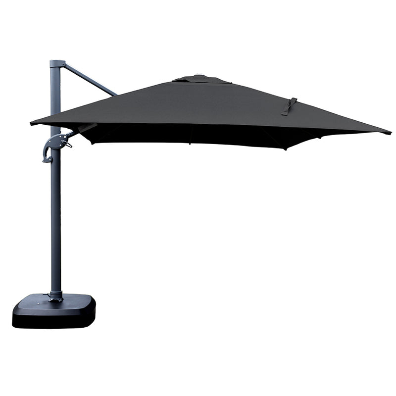 Santa Fe 3 x 4 metre cantilever umbrella in black incl. water base and cover