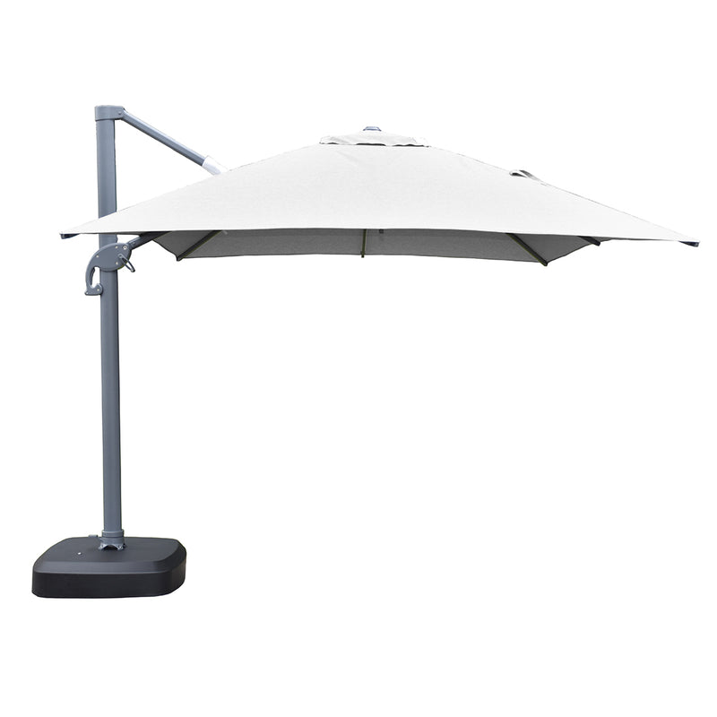 Santa Fe 3 x 4 metre cantilever umbrella in light grey incl. water base and cover