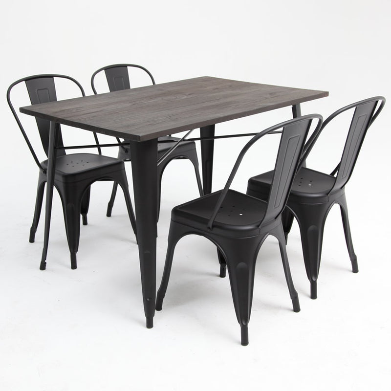 Tolix Elm Double Table + x4 Tolix Chairs Black