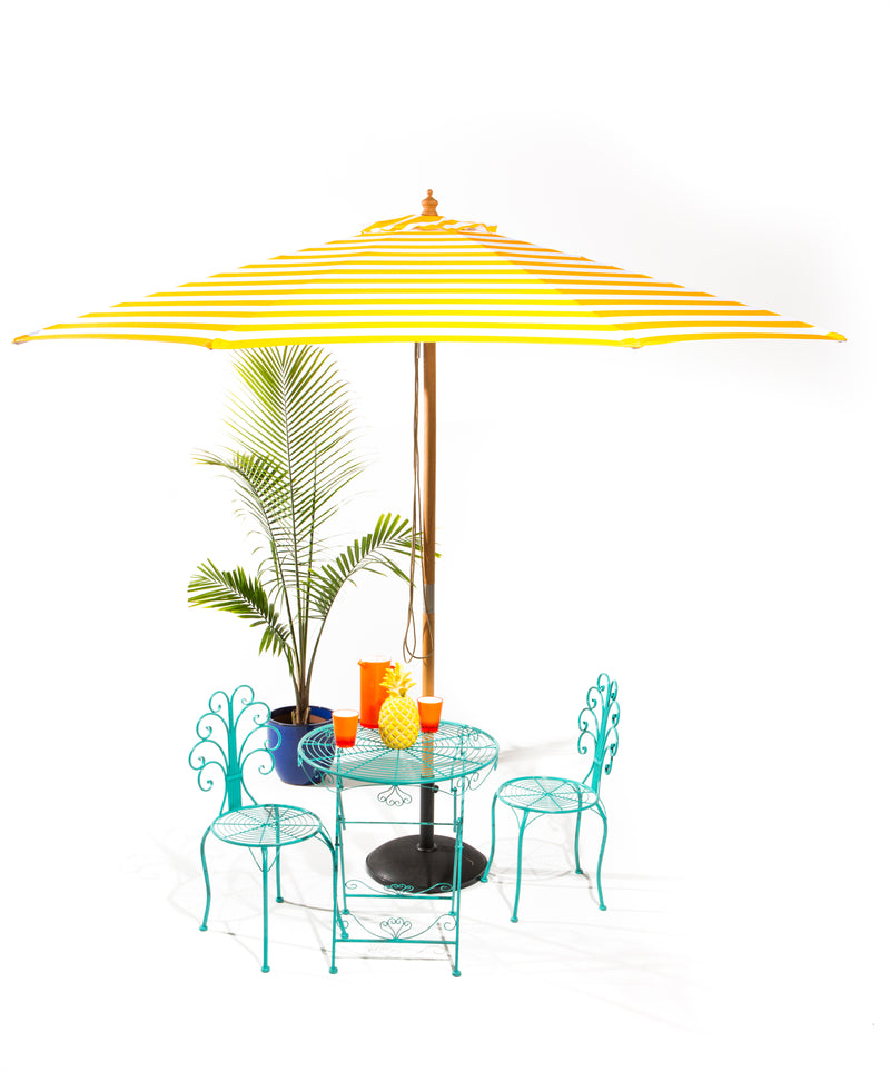 Sunny Marbella - 3m diameter yellow and white stripe umbrella with cover