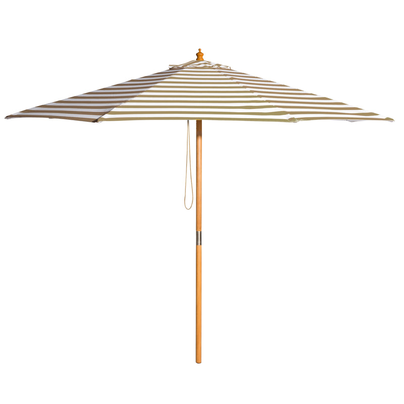 Coastal - 3m diameter taupe and white stripe umbrella with cover