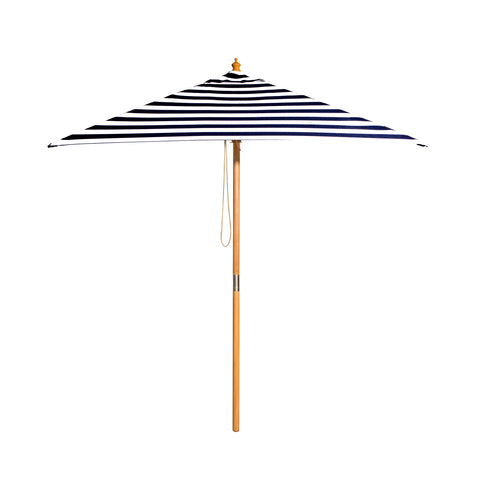 French Riviera - 2m diameter black and white stripe umbrella with cover