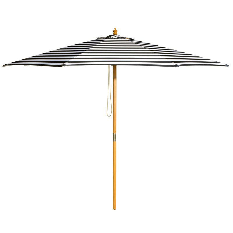 French Riviera - 3m diameter black and white stripe umbrella with cover