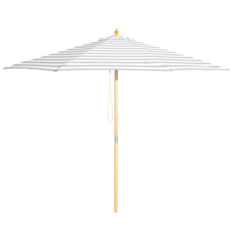 Peninsula - 3m diameter grey and white stripe umbrella with cover