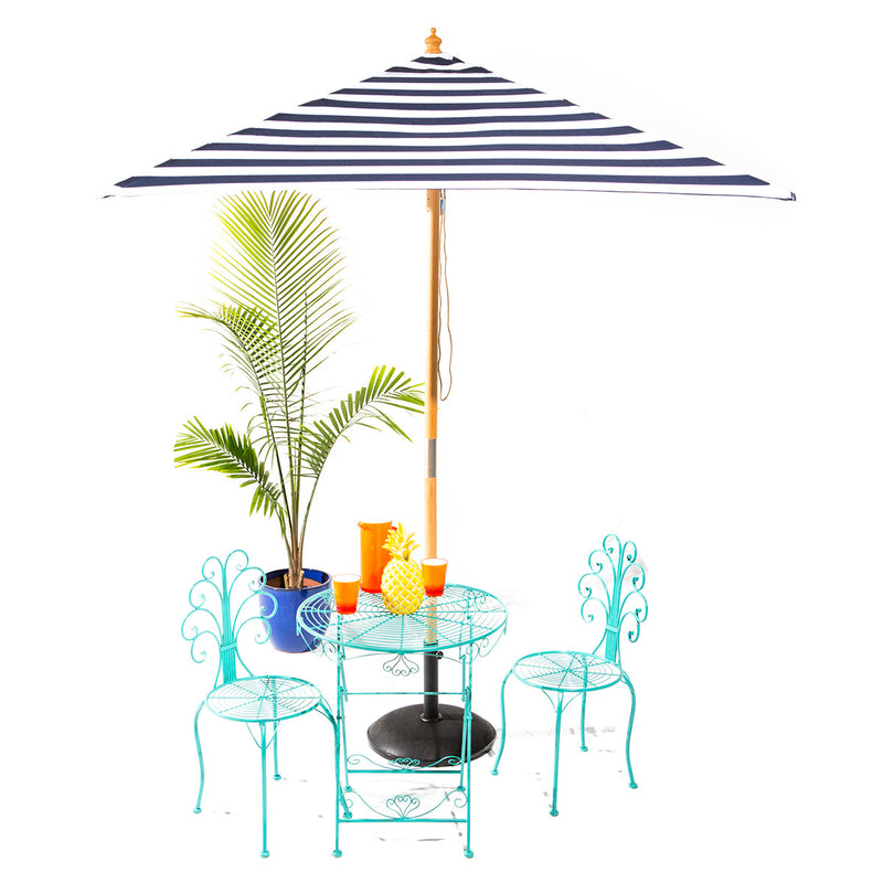 St. Tropez - 2m diameter square blue and white stripe umbrella with cover