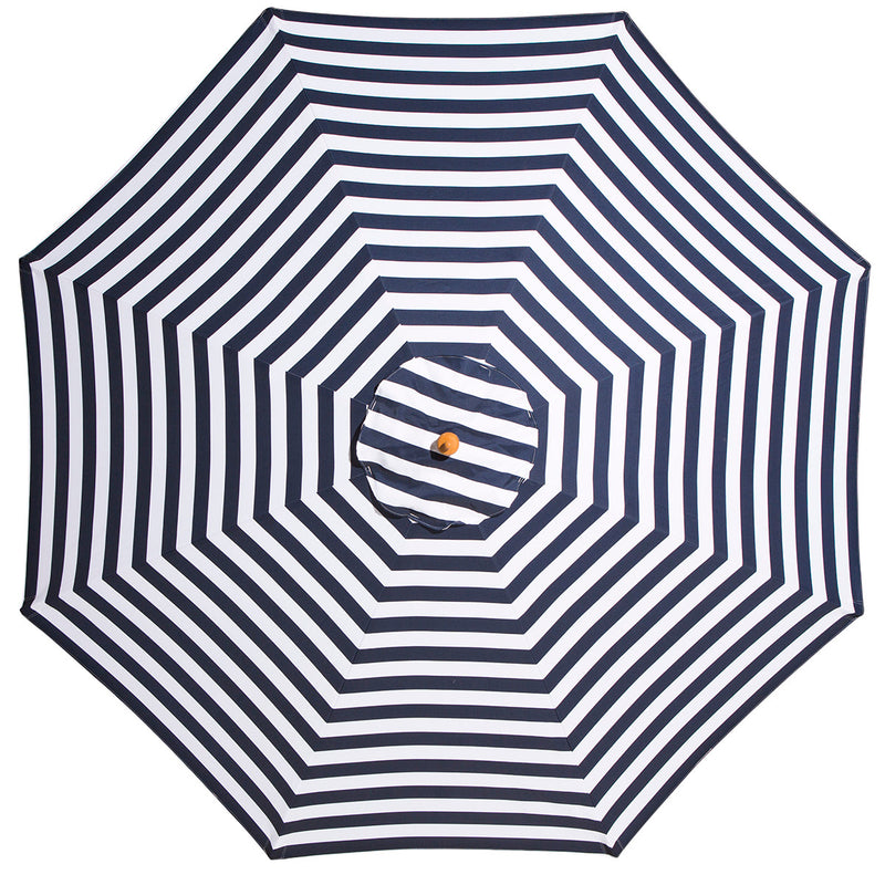 St. Tropez - 3m diameter navy and white striped umbrella with cover