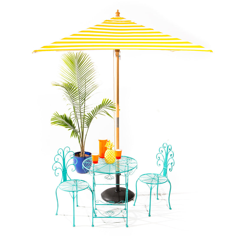 Sunny Marbella - 2m square yellow and white stripe umbrella with cover
