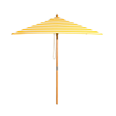 Sunny Marbella - 2m diameter square yellow and white stripe umbrella with cover