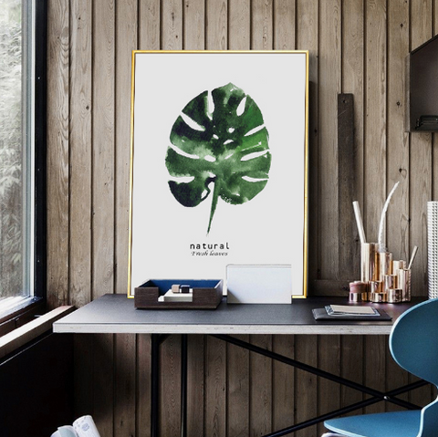 About us image of a study room with a leaf printed canvas picture