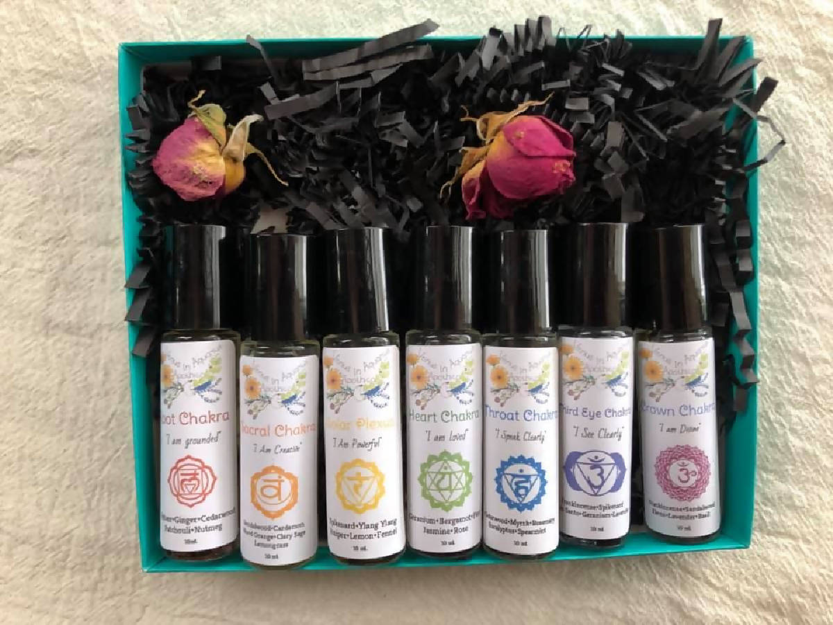 CHAKRA ESSENTIAL OILS~100% Organic Essential Oil+Herbal+Gem infused blends intended to balance your energy centers. Set of 7. - made cleveland
