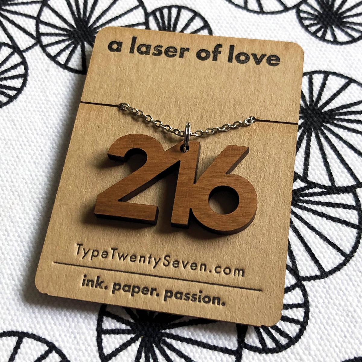216 Necklace | Sans Serif - made cleveland