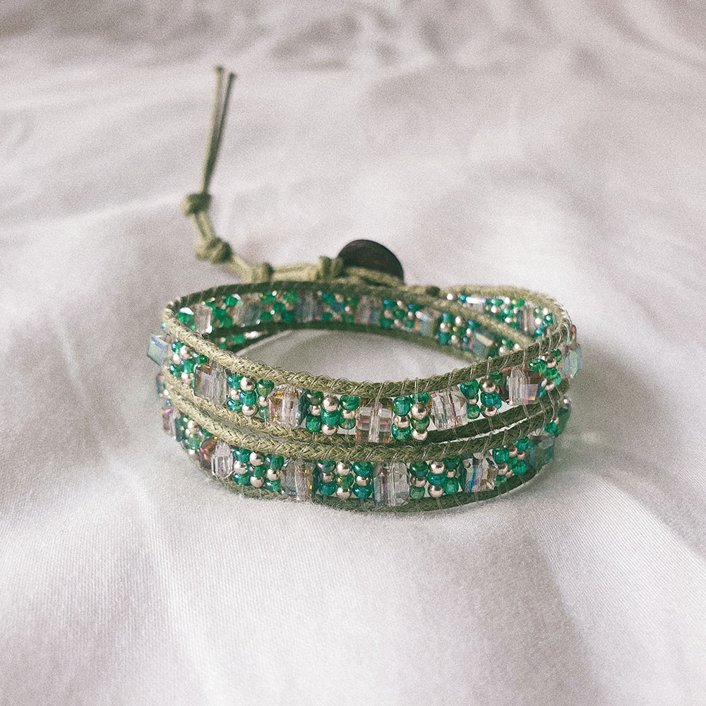 STAINED GLASS, Double Wrap Bracelet with Green Japanese Beads