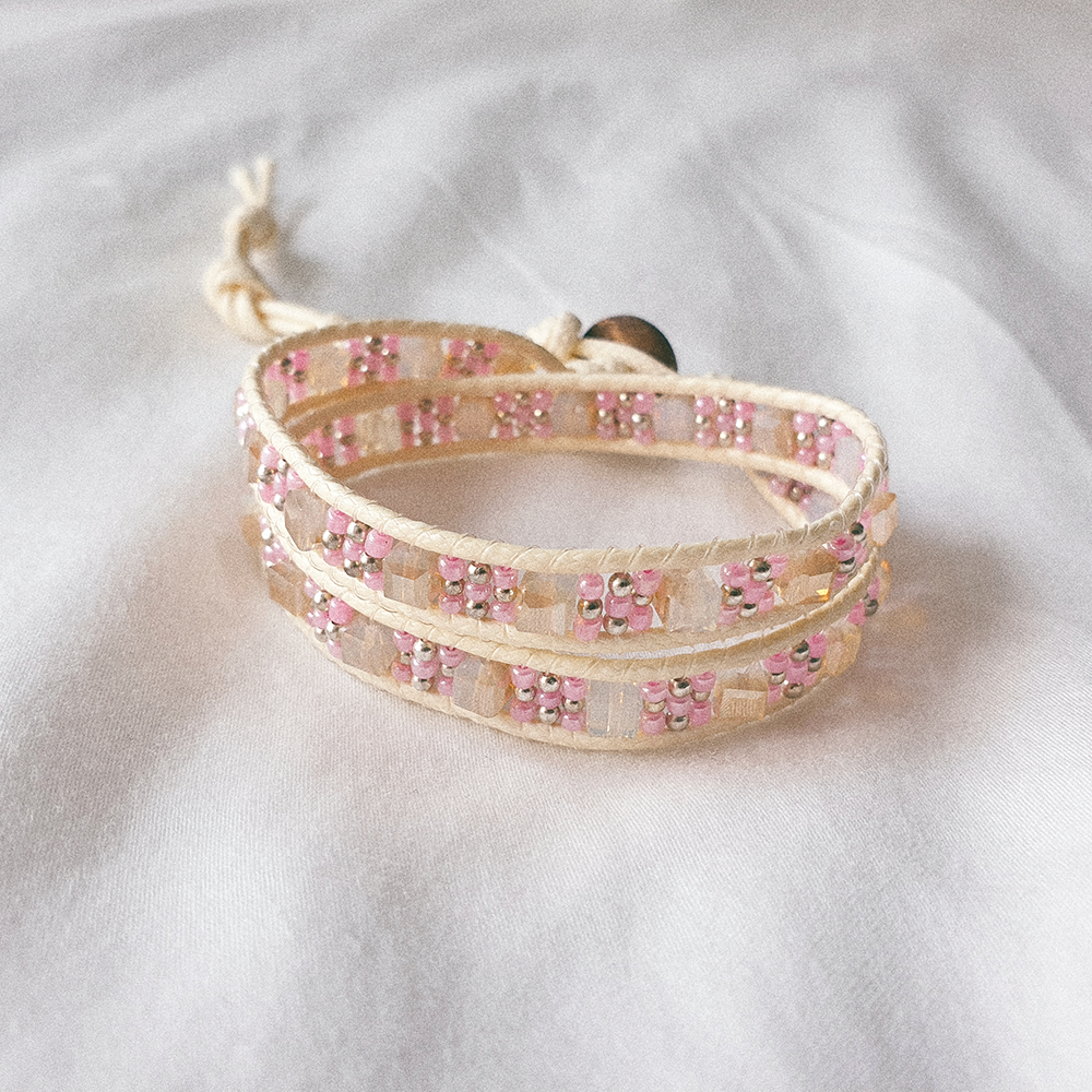 STAINED GLASS, Double Wrap Bracelet with Pink Japanese Beads