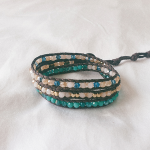 SEA FOAM, Triple Wrap Bracelet with Mixed Crystal Beads