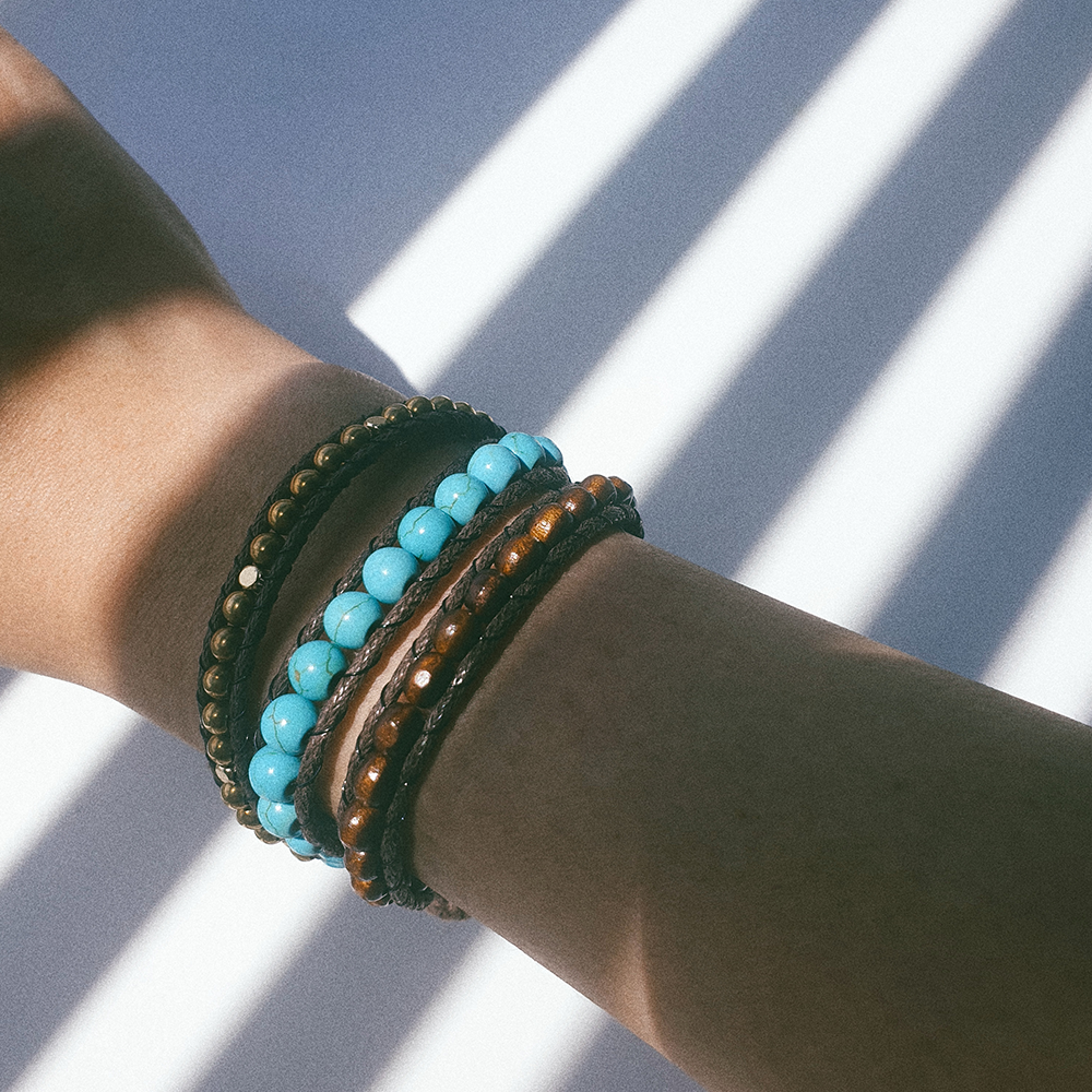 AZUL, Triple Wrap Bracelet with Brass, Turquoise and Wooden Beads