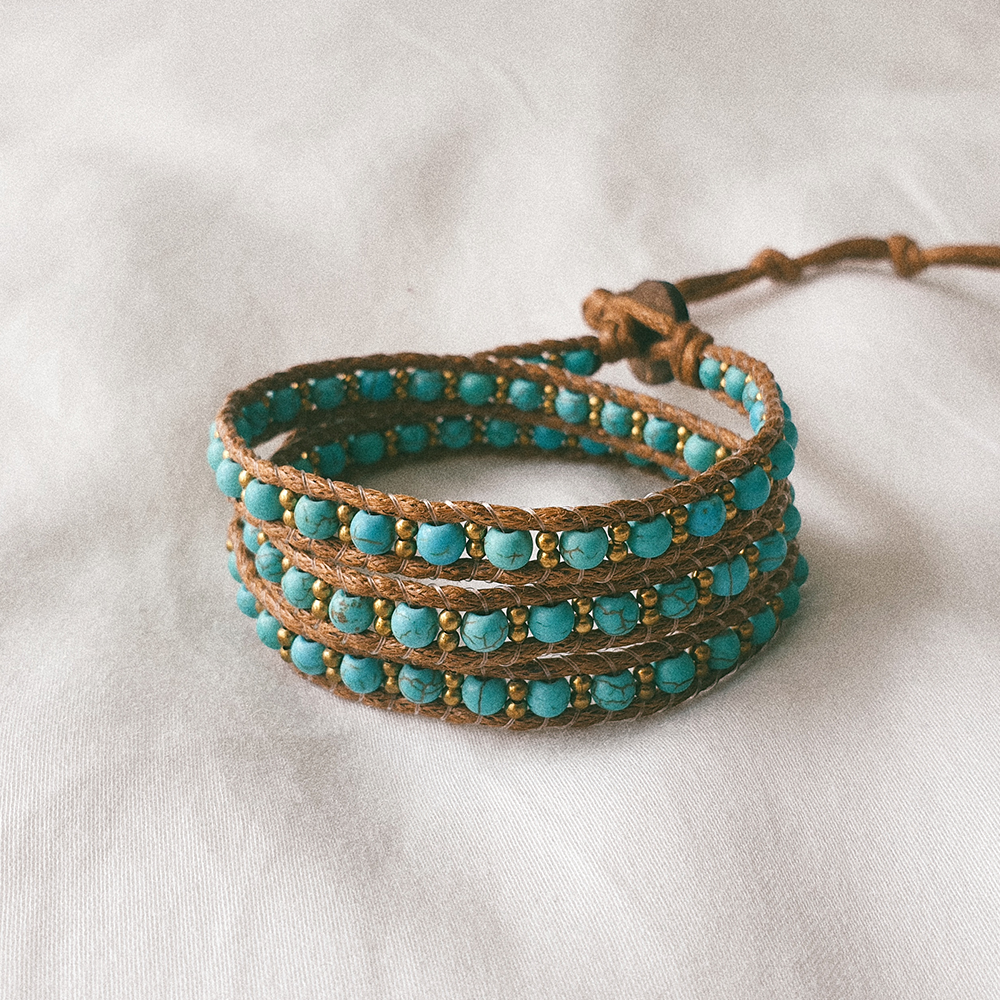 BRASS CANDY, Triple Wrap Bracelet with Turquoise and Brass Beads