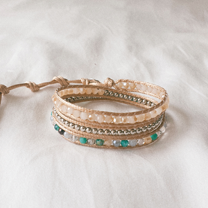SEA FOAM, Triple Wrap Bracelet with Crystal and Silver Beads