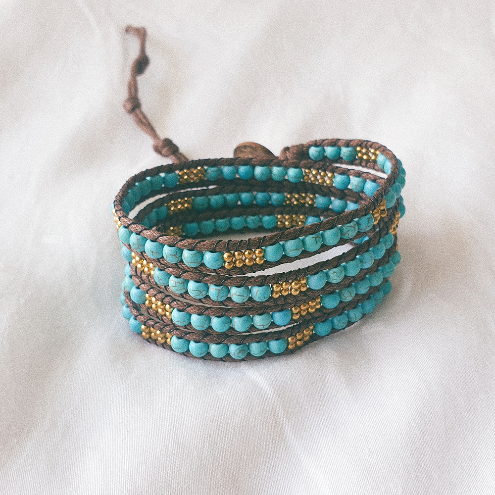 AZUL, Multi Wrap Bracelet with Turquoise and Brass Beads
