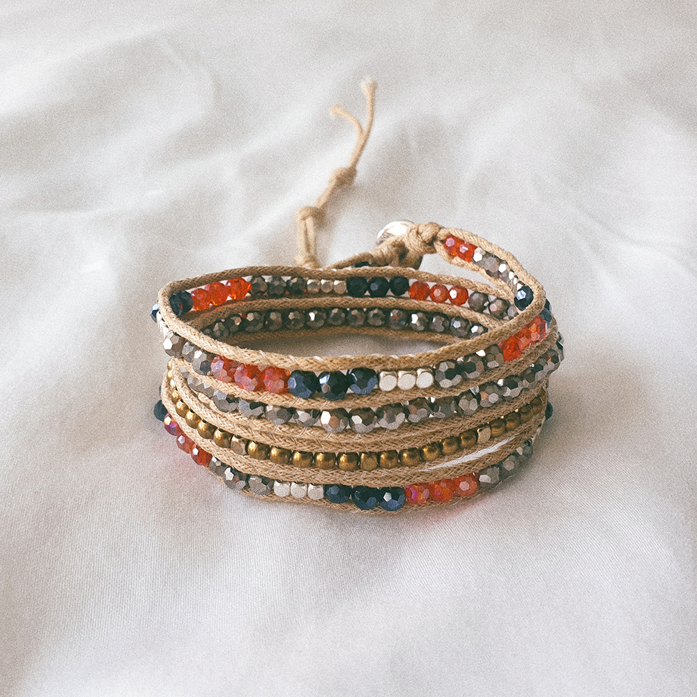 BRICK, Multi Wrap Bracelet with Red and Black Crystal Beads