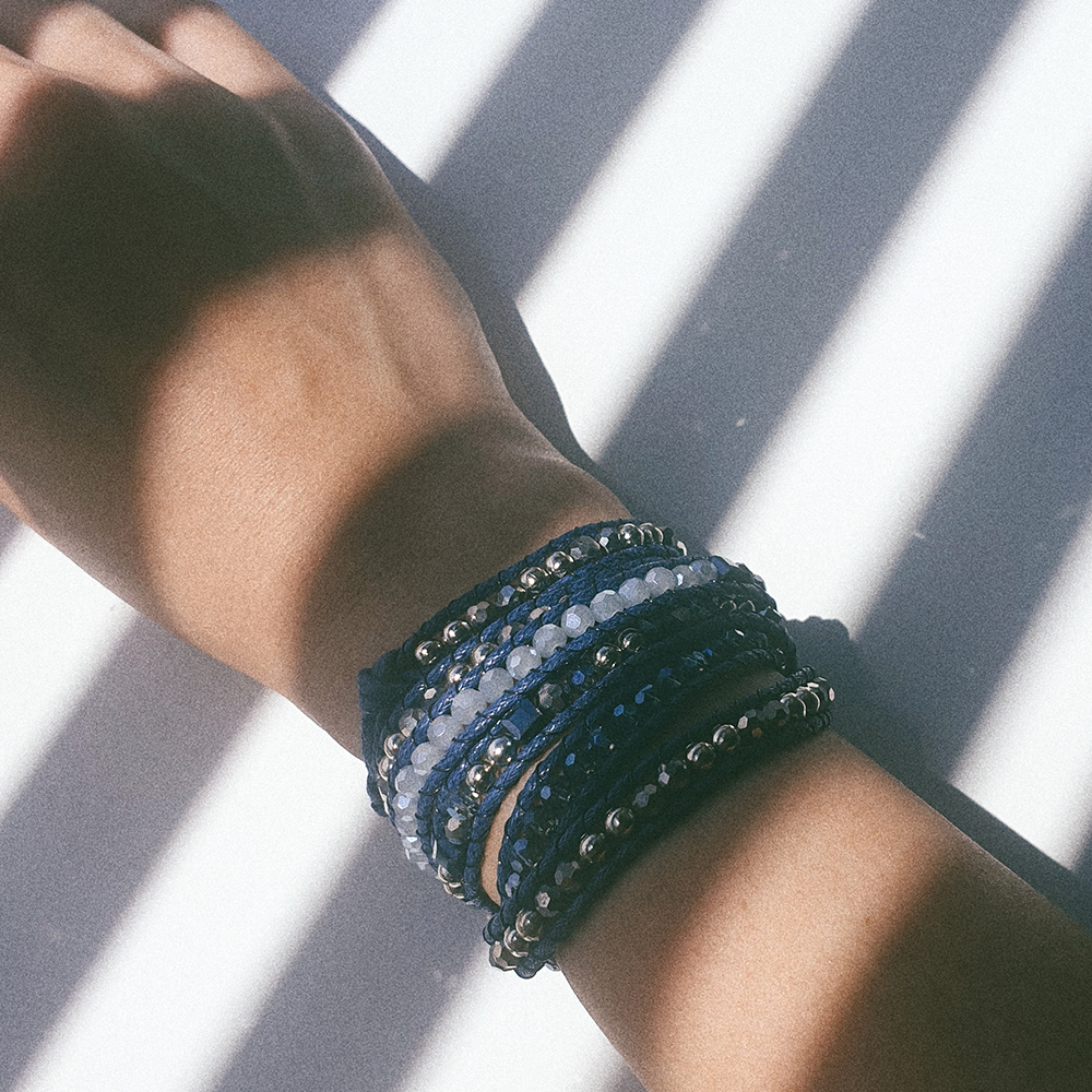 MIDNIGHT BLUE, Multi Wrap Bracelet with Navy and Silver Beads