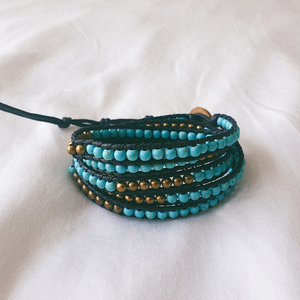 AZUL, Multi Color Bracelet with Turquoise and Brass Beads