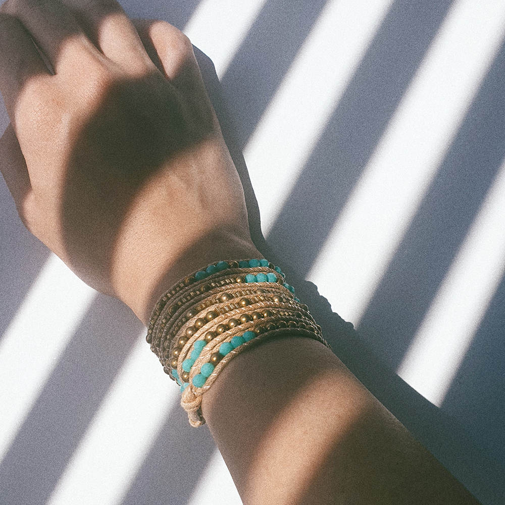 DUST, Multi Wrap Bracelet with Blue and Gold Beads