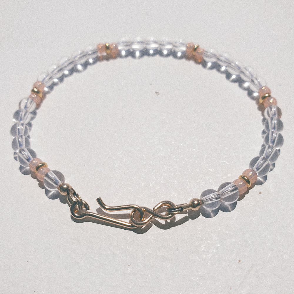 Clear Water, Clear quartz and salmon colored glass beads with gold vermeil