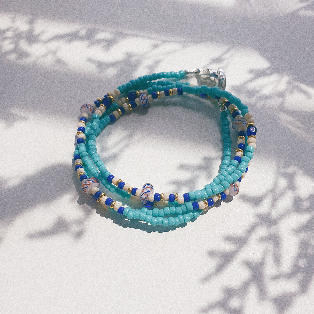 Summer Days, 3-Way Facemask Strap / Choker / Bracelet in Turquoise