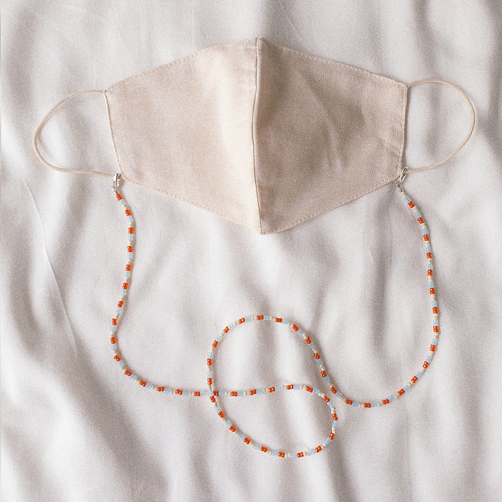 Summer Days, 3-Way Facemask Strap / Choker / Bracelet in Salmon & Pastel Blue