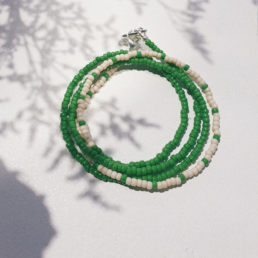 Summer Days, 3-Way Facemask Strap / Choker / Bracelet in Grass Green