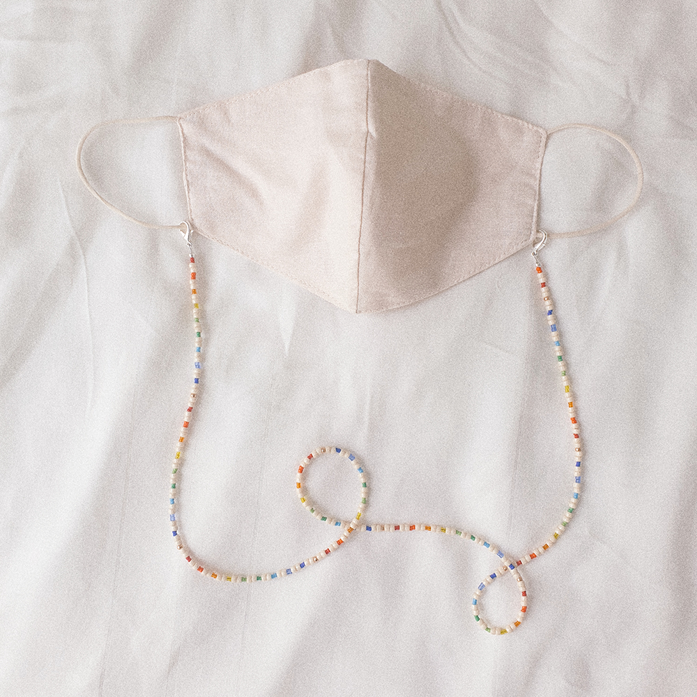 Summer Days, 3-Way Facemask Strap / Choker / Bracelet in String of Rainbow