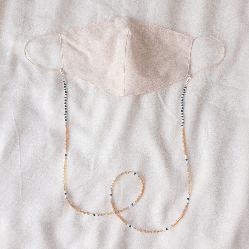 Summer Days, 3-Way Facemask Strap / Choker / Bracelet in Nude/Checker