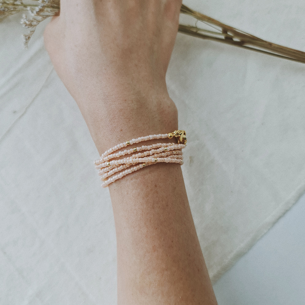 Summer Days / M Series / Multi-Way Strap in Peach and Rose Gold Glass Beads