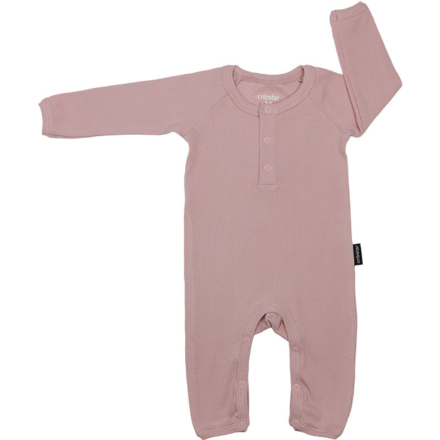 Ribbet romper baby - dusty pink